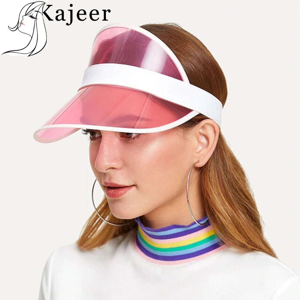 Kajeer New Summer Unisex Women Men Sun Hat Candy Color Transparent Empty Top Plastic PVC Sunshade Hat Visor Caps Bicycle Sun Hat