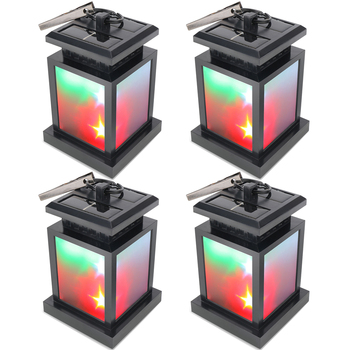 (4pcs/Lot) Colorful Outdoor Solar Power Twinkle LED Candle Light Yard Garden Decoration Umbrella Tree Lantern Hanging RGB Lamp