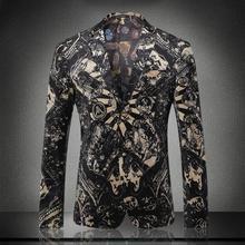 High Quality Gold Velvet Casual Print Blazer M-XXXL 2016 Autumn Winter Men's Slim Fit Jacket Outerwear For Men