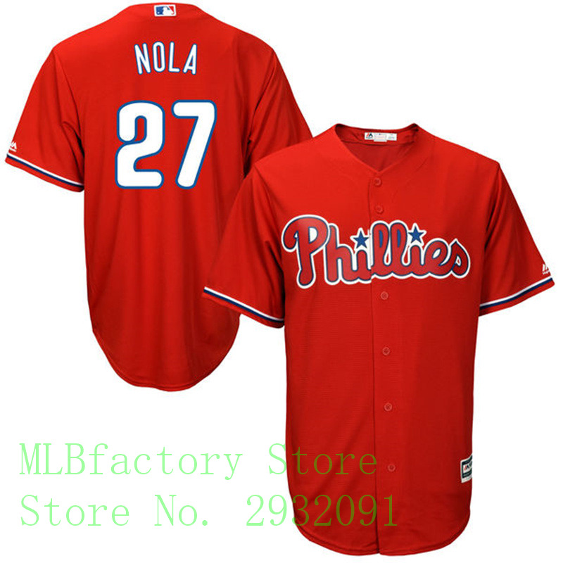 MLB Mens Philadelphia Phillies Aaron Nola Majestic Scarlet Alternate Cool Base Player Jersey