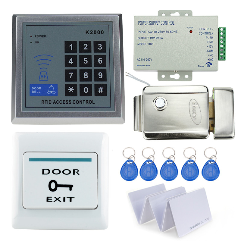 diy kit access control security keypad with metal electric security door lock+power supply+door exit switch+10pcs key cards best free ship by dhl access control kit waterproof access control switch power electric mute lock exit button 10 em cards sn em t10