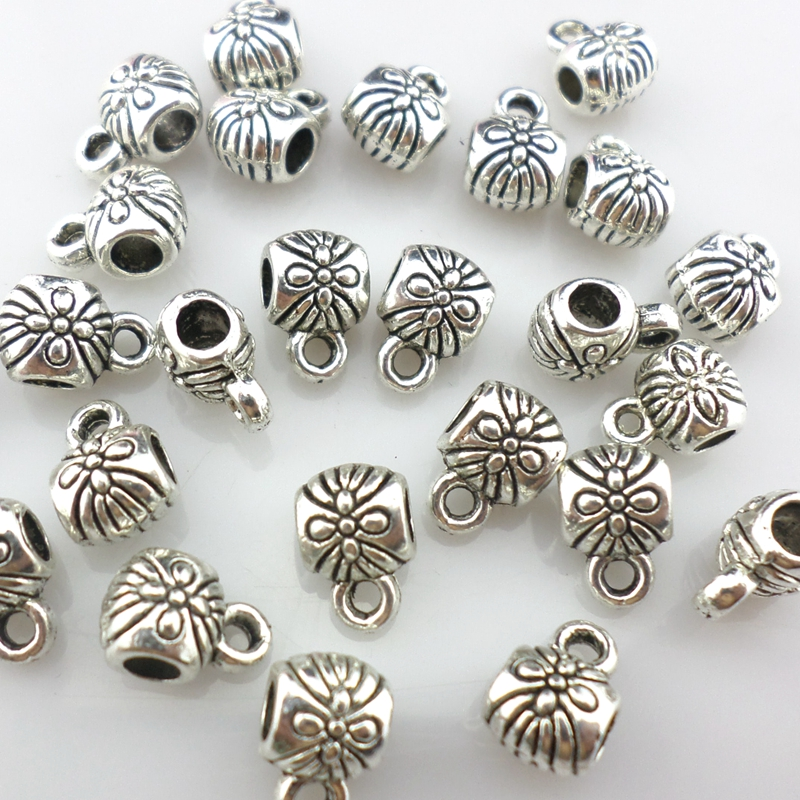 20//60pcs Tibetan Silver Shell Conch Charm Loose Spacer Beads DIY Findings