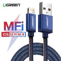 Ugreen mfi-контроллеров кабель Lightning для iPhone 7 Джинсовые Плетеный 8 Булавки USB кабель быстрая Зарядное устройство кабель для iphone 8 8 плюс 6 5 iPad кабел...