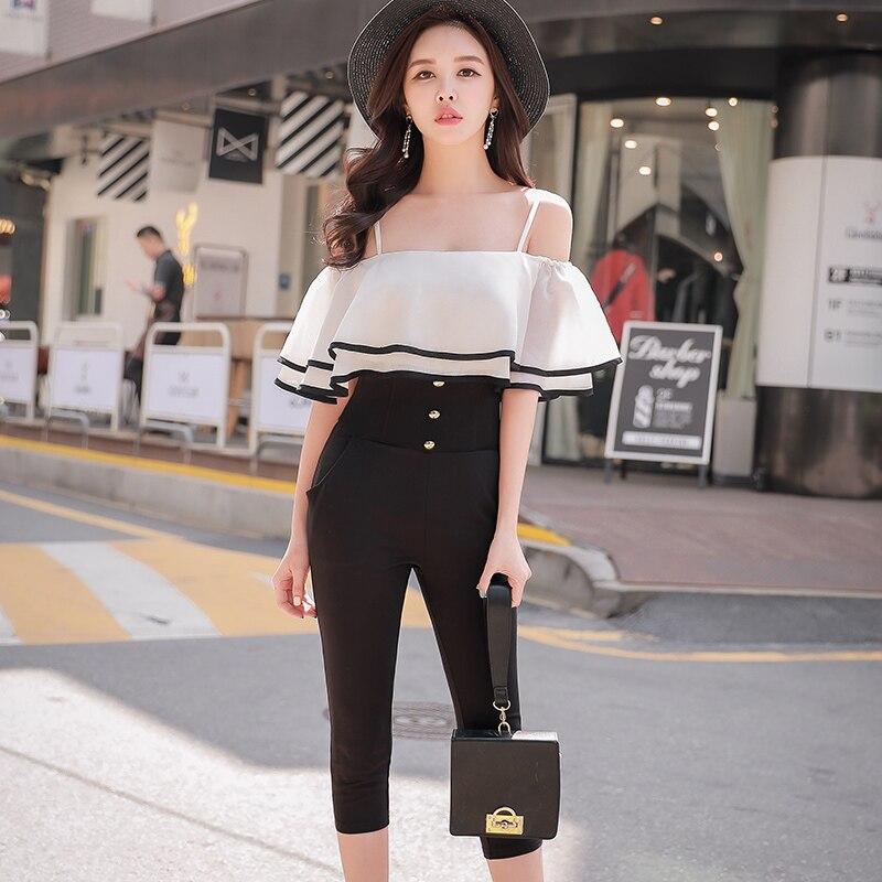 original summer 2018 off the shoulder jumpsuit female korean temperament suspenders ruffles high waist jumpsuit women wholesale
