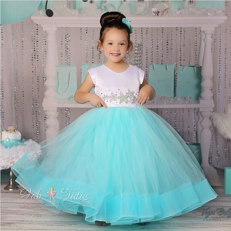 Kids Short Sleeve lower Girl Dresses Soft Ball Gown for Weddings Mesh and Voile F first Communion Dresses for Girls 2016