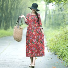 Floral Cotton Linen Dress Vintage Print Autumn Women 2019 New