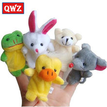 QWZ 10pcs/set Cartoon Animal Finger Puppet Theater Baby Plush Toys For Children Favor Gift Animals Dolls Kids Finger Toys(China)