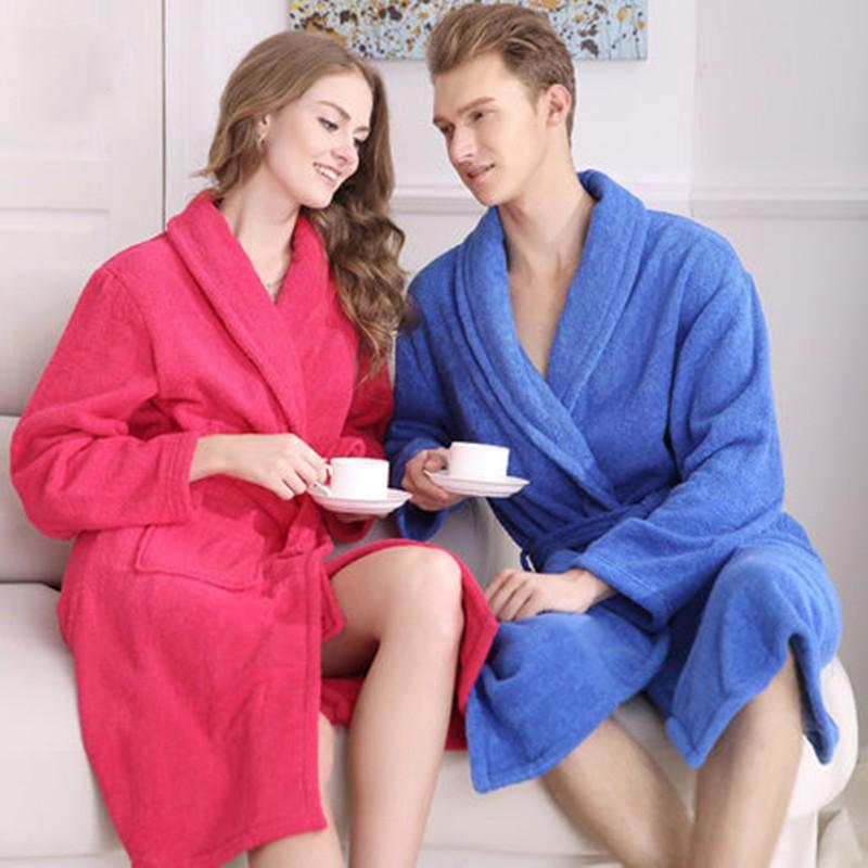 Cotton Unisex Long Terry Bathrobe Women Men Towel Bath Robe Femme Dressing Gown Bridesmaid Robes Lovers Kimono Sleepwear