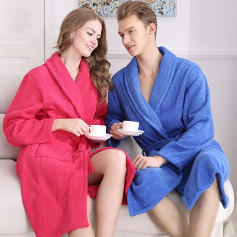 100% Cotton Unisex Long Terry Bathrobe Women Men Towel Bath Robe Femme Dressing Gown Bridesmaid Robes Lovers Kimono Sleepwear