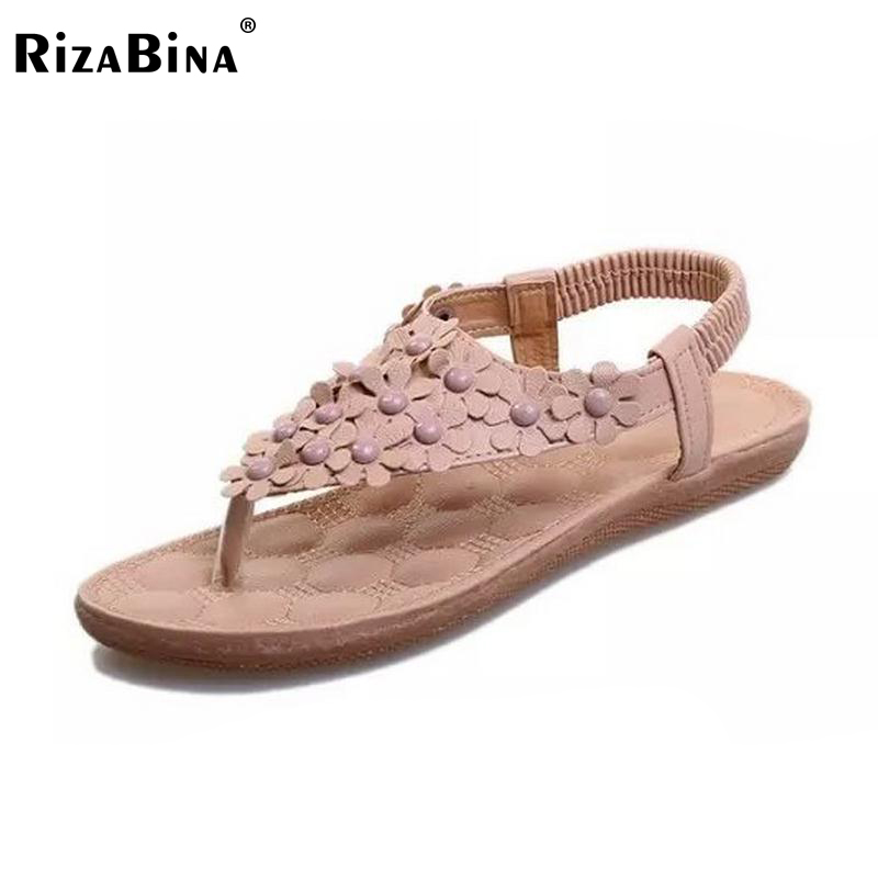 RizaBina lady summer shoes flat heel flip gladiator brief herringbone flip-flop flower sandals flat women shoes WD0050 size35-39