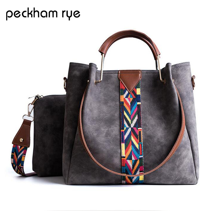 PECKHAMRYE 2017  Designer 2Sets PU Leather Shoulder Bag All-match Messenger Bags With Delicate Pendant Handbags Women Tote Bag 2017 fashion all match retro split leather women bag top grade small shoulder bags multilayer mini chain women messenger bags
