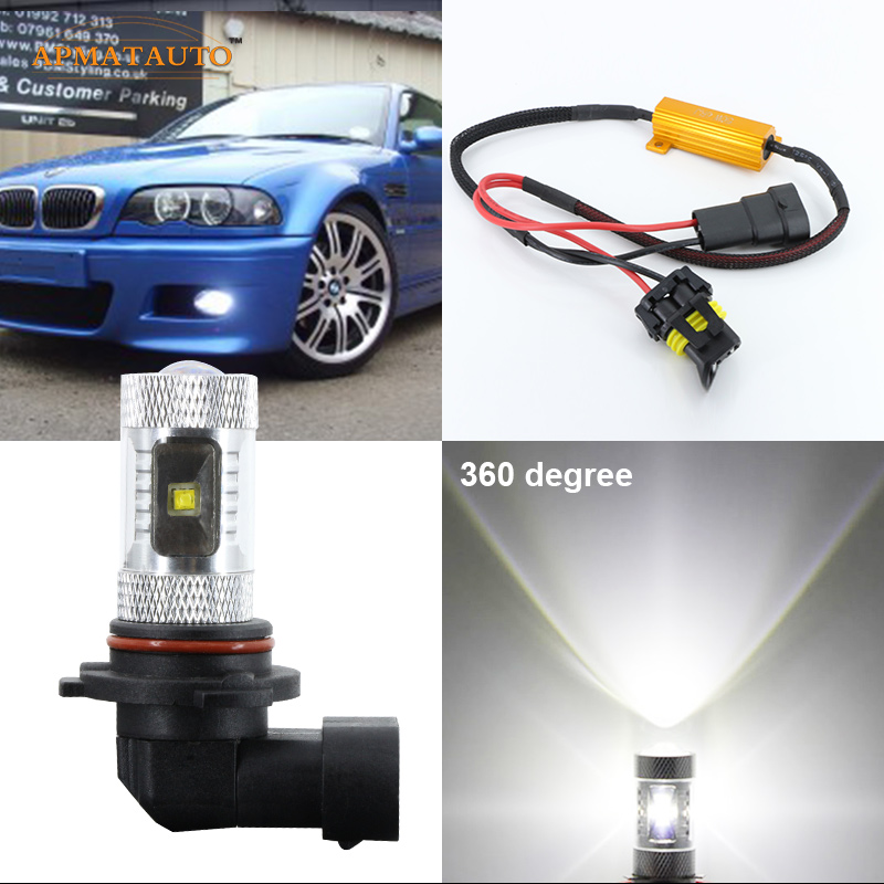 Canbus 9006 HB4 For Cree Chips LED Fog Light Bulb For BMW 3/5/7-Series E46 323i 325i 325Ci 330i 330ci M3 Z4 E60 E63 E64 E65 E66 boaosi 2x 9006 hb4 led canbus bulbs reflector mirror design for fog lights for bmw e63 e64 e46 330ci car styling