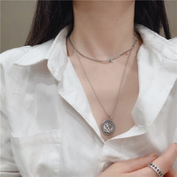 S925 sterling silver vintage vintage cross neck chain queen coin double necklace for women