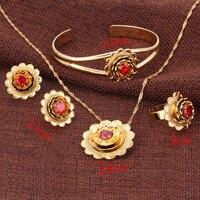 2016 NEW Ethiopian Gold Set Jewelry Pendant Necklace Bangle Earrings Ring 24k Gold Habesha African Wedding