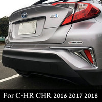 For Toyota C HR CHR 2016 2017 2018 Carbon Fiber Rear Foglight Cover Trim Abs Chrome