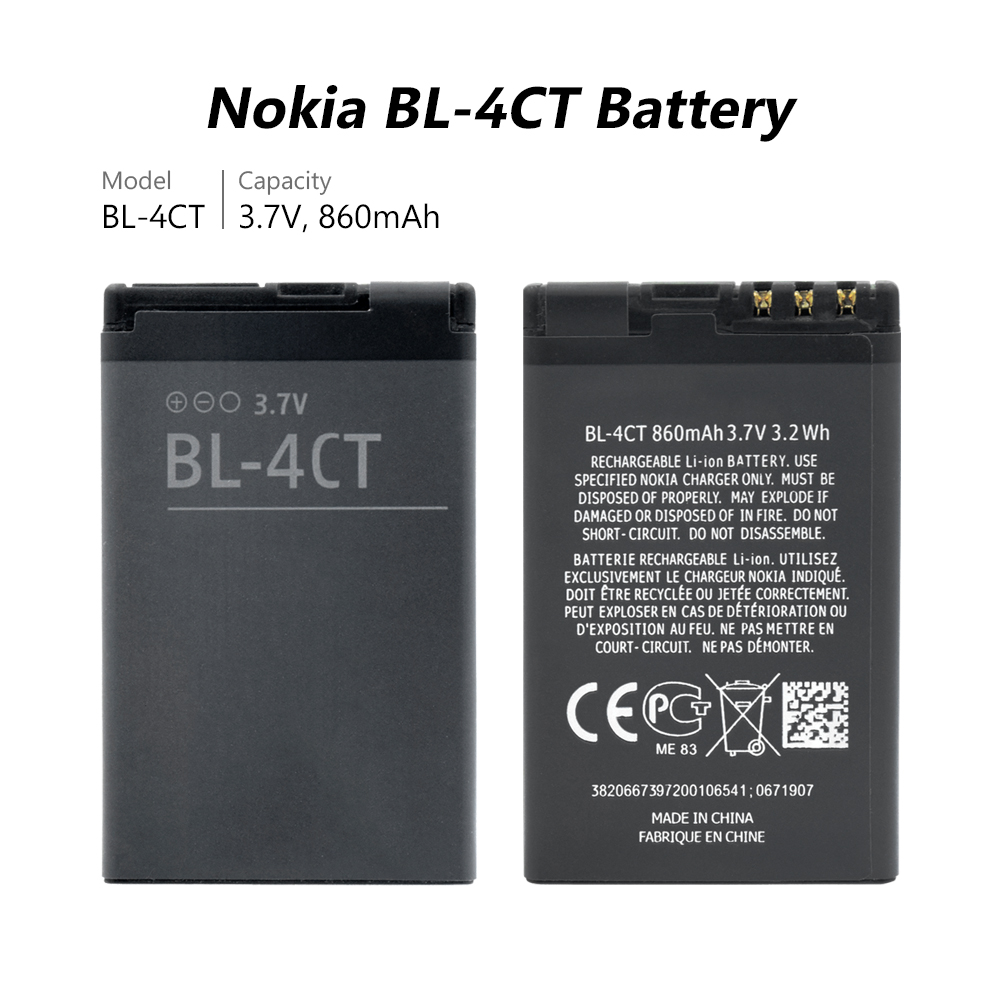 BL-4CT phone Battery BL 4CT For NOKIA 5310 5630 X3 2720A 3720 5300XM 6730C X3-00 2720F BL4CT 860mAh Replacement Battery Bateria(China)