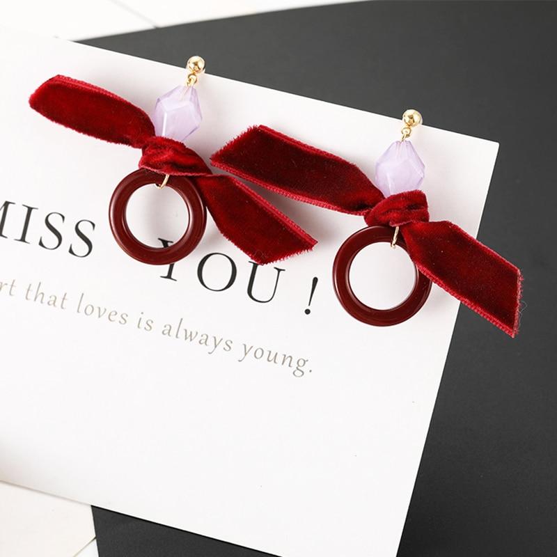Korean Elegant Red Earrings Velvet Acrylic Drop Earrings For Women Jewelry Bowknot Small Circle Dangle Earrings Party Gift
