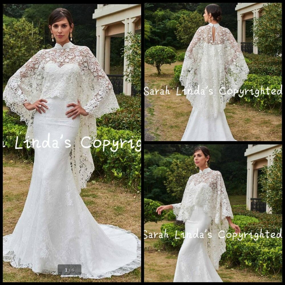 2017 White Modest With Lace Jackets Mermaid Wedding Dress High Neck Court Train Two Piece Elegant Wedding Gowns Hot Sale