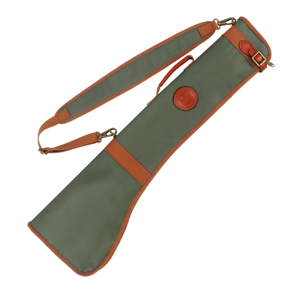 Tourbon Retro Golf Club Carrier Pencil Style Golf Gun Bag Fleece Padded Clubs Cover 80CM Waxed Water Repellent Canvas & Leather