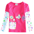 Girl long sleeve t shirt children embroidery flowers 100% cotton clothing t shirt for girls kids spring autumn t shirt  F5968