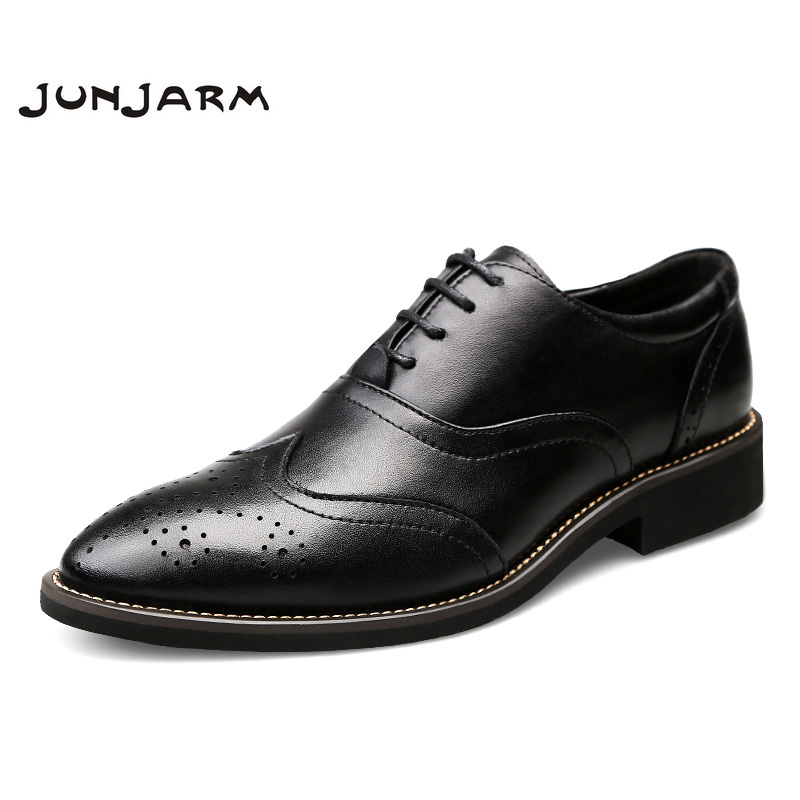 JUNJARM Brand Formal Dress Men Shoes Genuine Leather Brogue Business Classic Office Mens Casual Oxfords Shoes Big Size 38-46