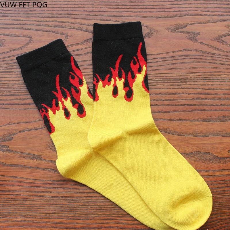 Red Yellow Flame Crew   Socks   Lifelike Fire   Socks   Men Hip Hop Design Classic Street Skateboard Cotton Long Unisex   Socks