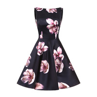 Print Floral A Line Bridesmaid Dress Robe Demoiselle D'honneur Black Sleeveless Prom Gown Short Party Dresses Vestido De Festa