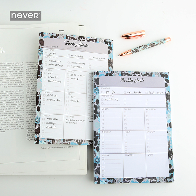 NEVER Colorful ocean series 2018 monthly Weekly planner memo pad sticky notes office accessories Chancellory stationery Store never creative sticky notes and memo pads set post it message tag fashion color business office accessories ladies stationery