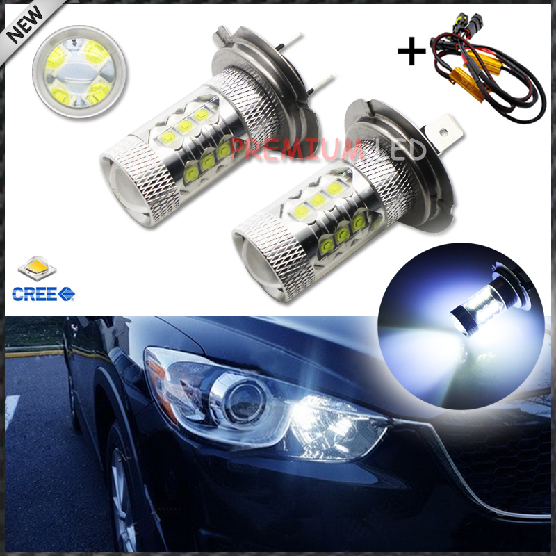 Error Free Canbus 8000K CRE'E Type H7 LED Bulbs For Audi BMW Mercedes Porsche Volkswagen on High Beam Daytime Running Lights 2x 1156 p21w canbus error free for sharp chips led daytime running lights bulb for vw volkswagen jetta mk6 scirocco sharan seat