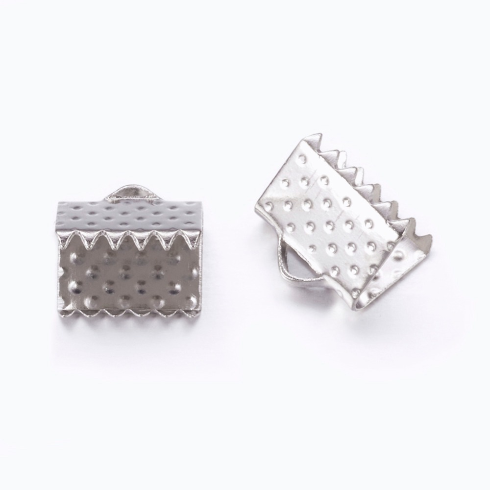 2000pcs 8x6x5mm, hole: 2mm Iron Ribbon Crimp Ends for Jewelry Making DIY Findings Accessories Component, Nickel Free
