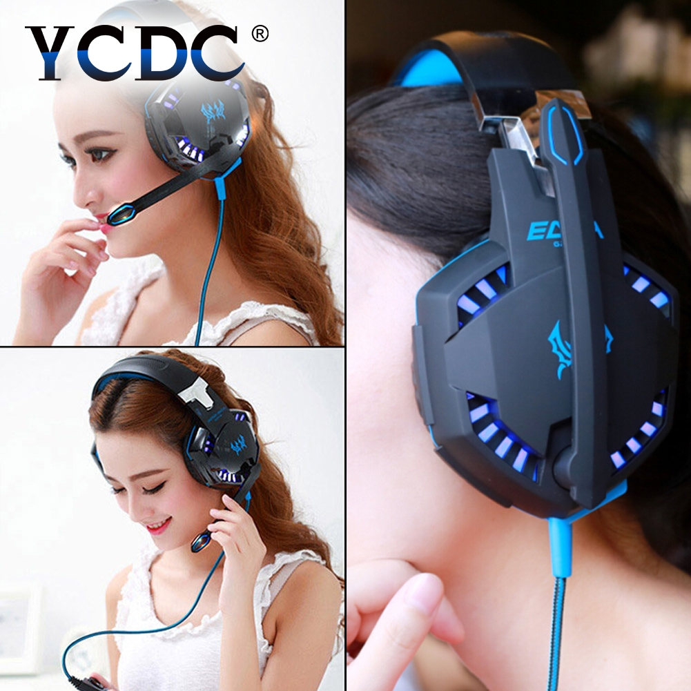 YCDC for smartphone pc laptop USB Cool Gaming Headset wired Game Headphones Earphones with Microphone for Gamer