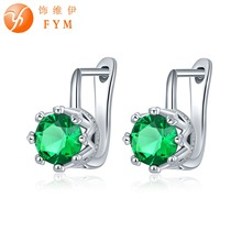 FYM Brand Luxury 7 Colors Big Green Round Cut Cubic Zirconia Earring Fashion Sliver Color Hoop Earrings Best Quality Jewelry
