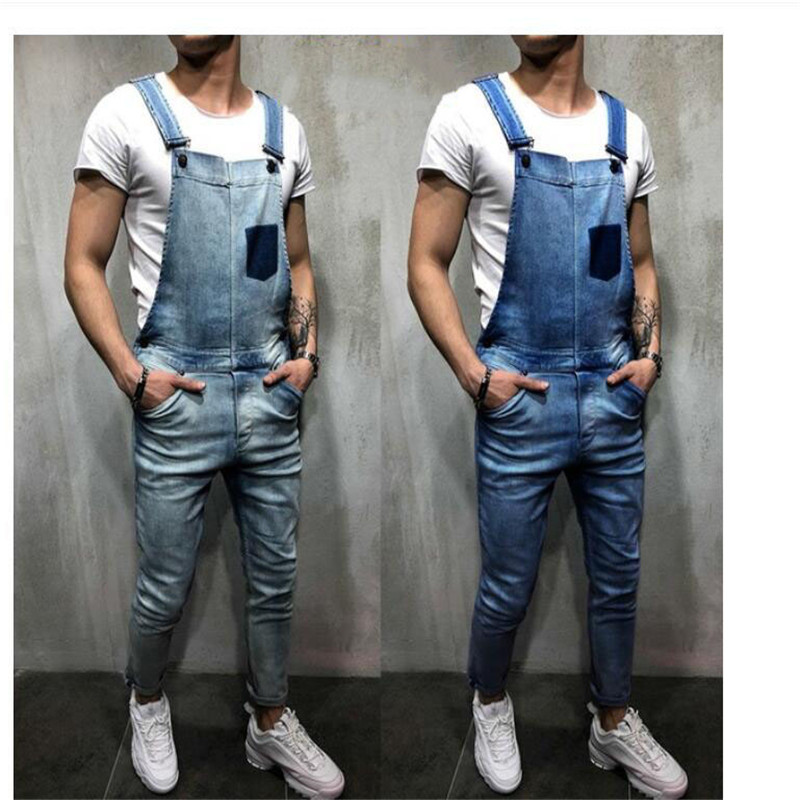 2019 New Casual Men's Denim Hole Overalls Fashion Men's Romper Torn Jeans Suspender Pants Good Quality