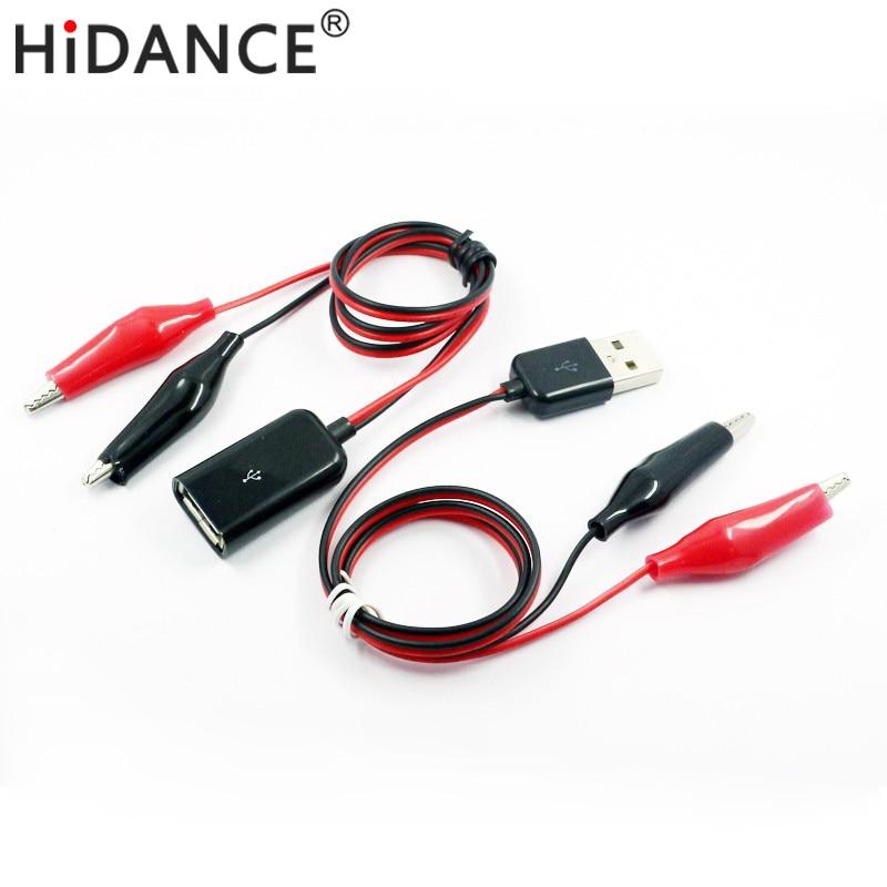 Cable de cocodrilo USB Pinzas de cocodrilo Macho de hembra a probador USB Detector medidor de voltaje capacidad del amperímetro medidor de potencia monitor, etc.