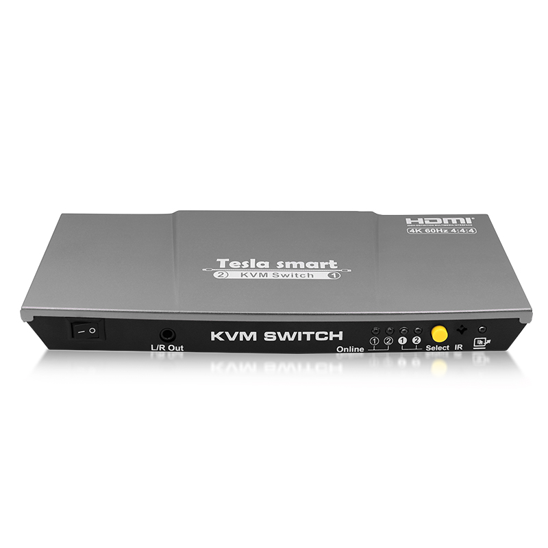 Tesla inteligente HDMI 4K @ 60Hz alta calidad USB HDMI Switch KVM 2 puertos USB KVM Switch HDMI apoyo 4 K * 2K @ 60Hz Extra USB2.0 puerto