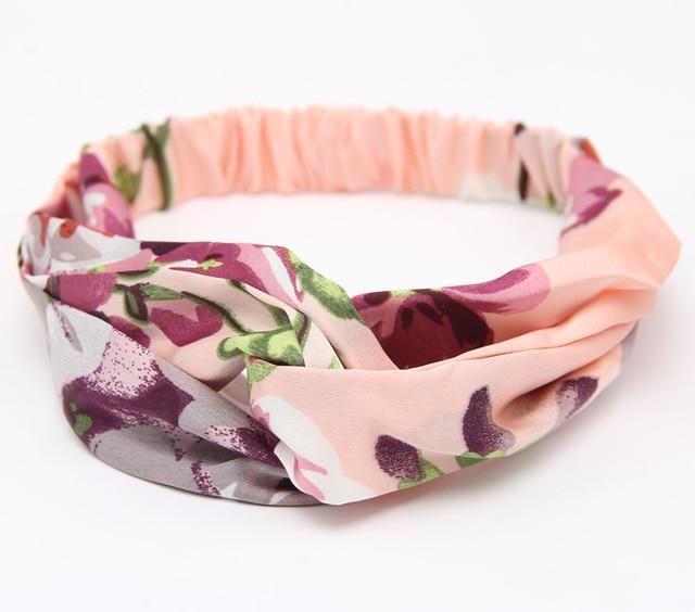 Аксессуары для волос повязки для женщин лента для новорожденных повязки на голову для девочки с цветочным рисунком Шелковый, с принтом ткань эластичная резинка для волос тюрбан с узлом - Цвет: Pink