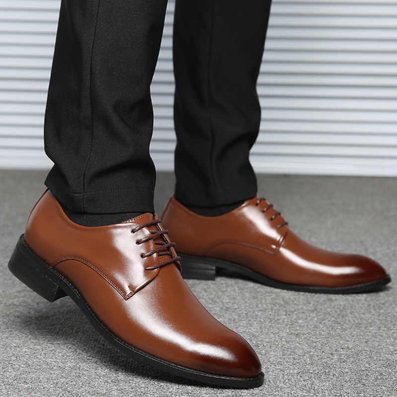 BIMUDUIYU Marke Klassische Mann Spitz Kleid Schuhe Herren Patent Leder Schwarz Hochzeit Schuhe Oxford Formale Schuhe Große Größe