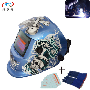 Blue Color PCB Auto Energy Welding Helmet Electric Mask Weld Cap Tig Mig Arc Full Face Eyes Protection Fast Ship TRQ-HD51-2200DE image