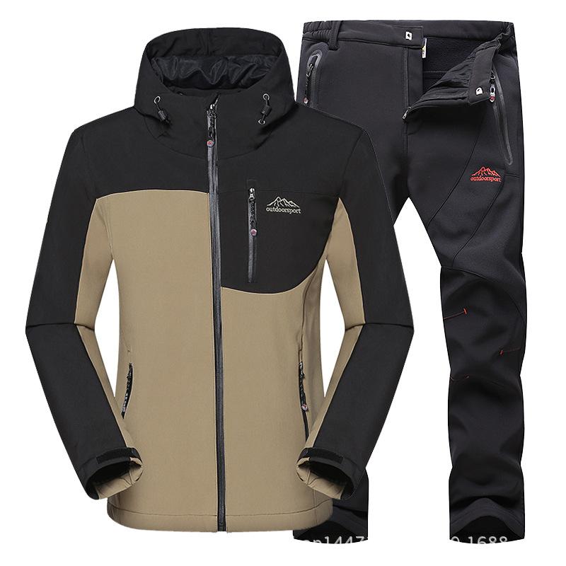 Prix pour Automne et hiver vêtements de chasse requin peau soft shell tapi extérieur éclairé tactique militaire laine manteau uniforme pantalon costume