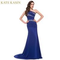 Royal azul amarillo púrpura un hombro Vestidos de noche largo sirena gasa vestido de noche cristalino de lujo Vestidos de baile 2017 4971
