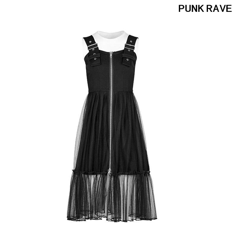 Boucles d'épaule Rock fermeture éclair tricoté robe sombre mode jeunes filles mosaïque maille légère Sexy Club robes PUNK RAVE OPQ-263LQF