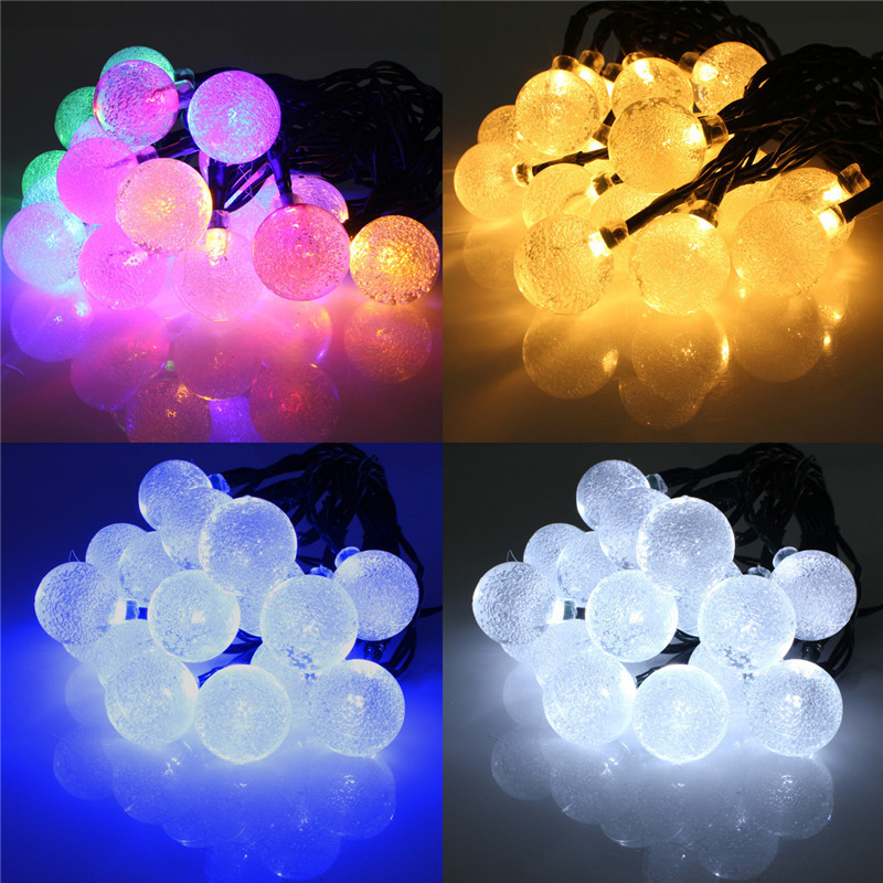 AIMIHUO 20LED solar lamp string crystal ball lamp 2.1m 4 color light string 2 mode always bright/flash LED festival light string