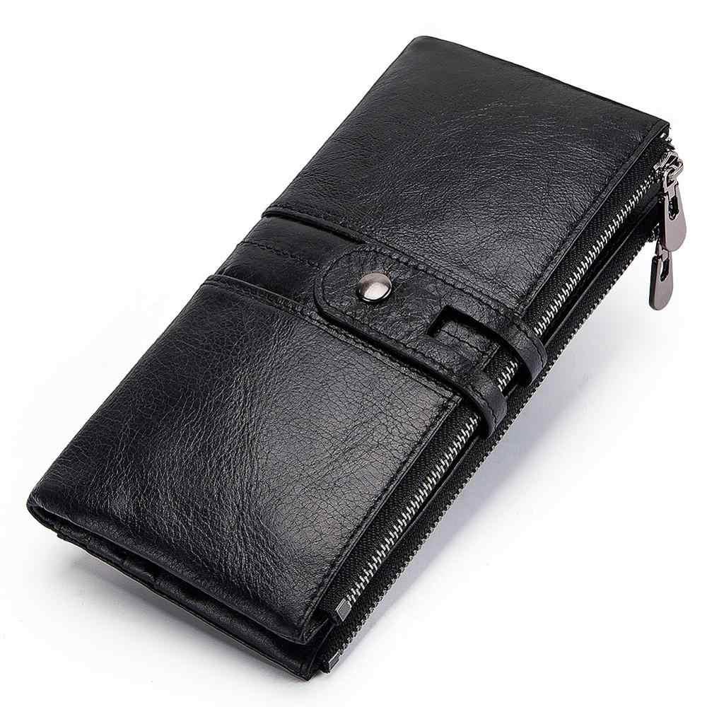 2018 Женский кошелек из натуральной кожи, Женская Пряжка кошелка для монет, клатч, сумка для денег, женский удобный держатель для карт, длинный для девочки