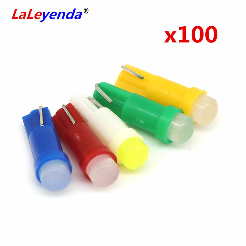 LaLeyenda 100Pcs T5 12V W3W W1.2W COB Wedge Plate Cluster Gauge LED Dashboard Warming Bulbs Mixed Colors instrument panel light