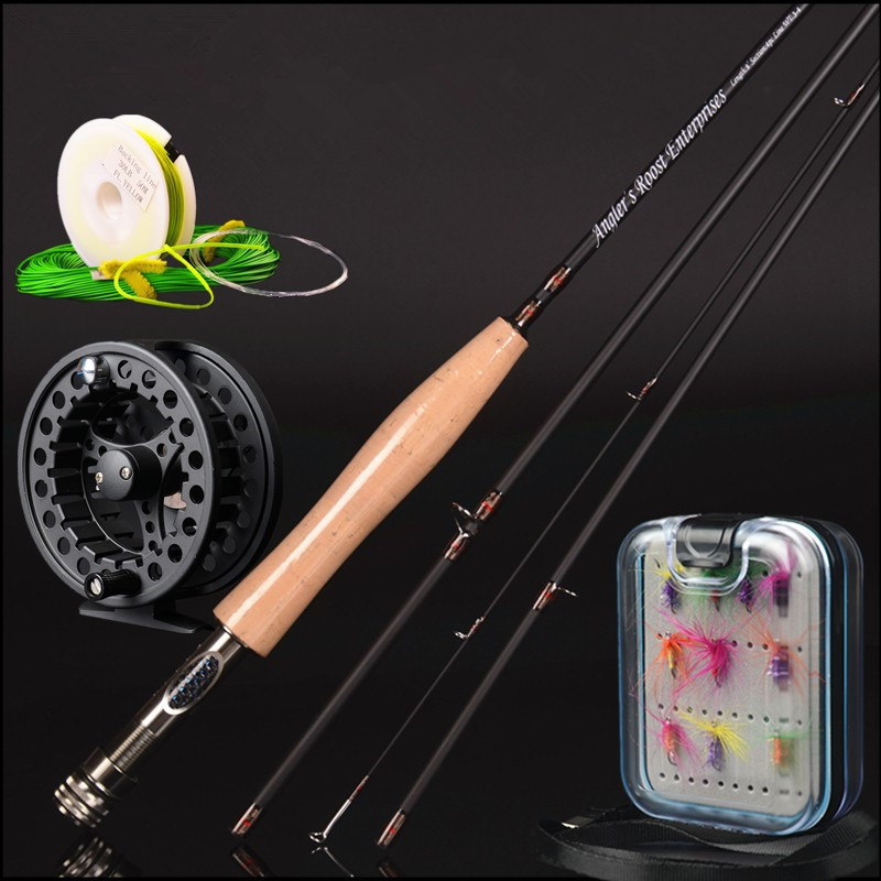 30t carbon fly rod 2.4 m 2.58 meters line wt 3/4# 4/5# 4 section fly fishing rod fishing tackle combo set fly fishing little rabbit animal series many chew toy