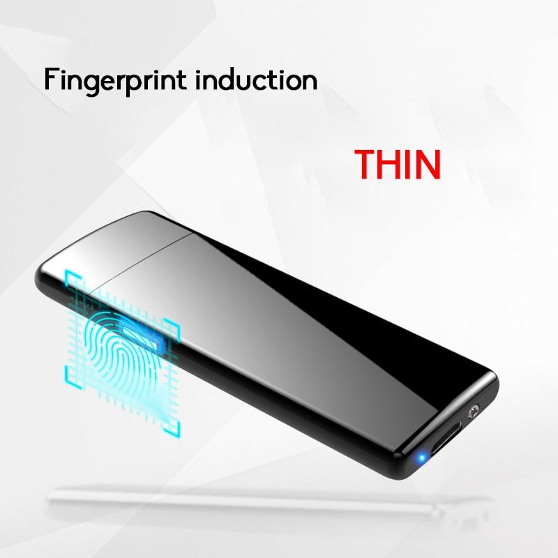 Neueste ultradünne Fingerprint Touch Sensor Zigarettenanzünder Wiederaufladbare USB Lade Feuerzeuge Plasma Elektrische Draht