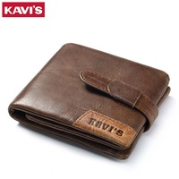 KAVIS 100 Genuine Leather Wallet Men Coin Purse Small Male Cuzdan Walet Portomonee Rfid Mini PORTFOLIO