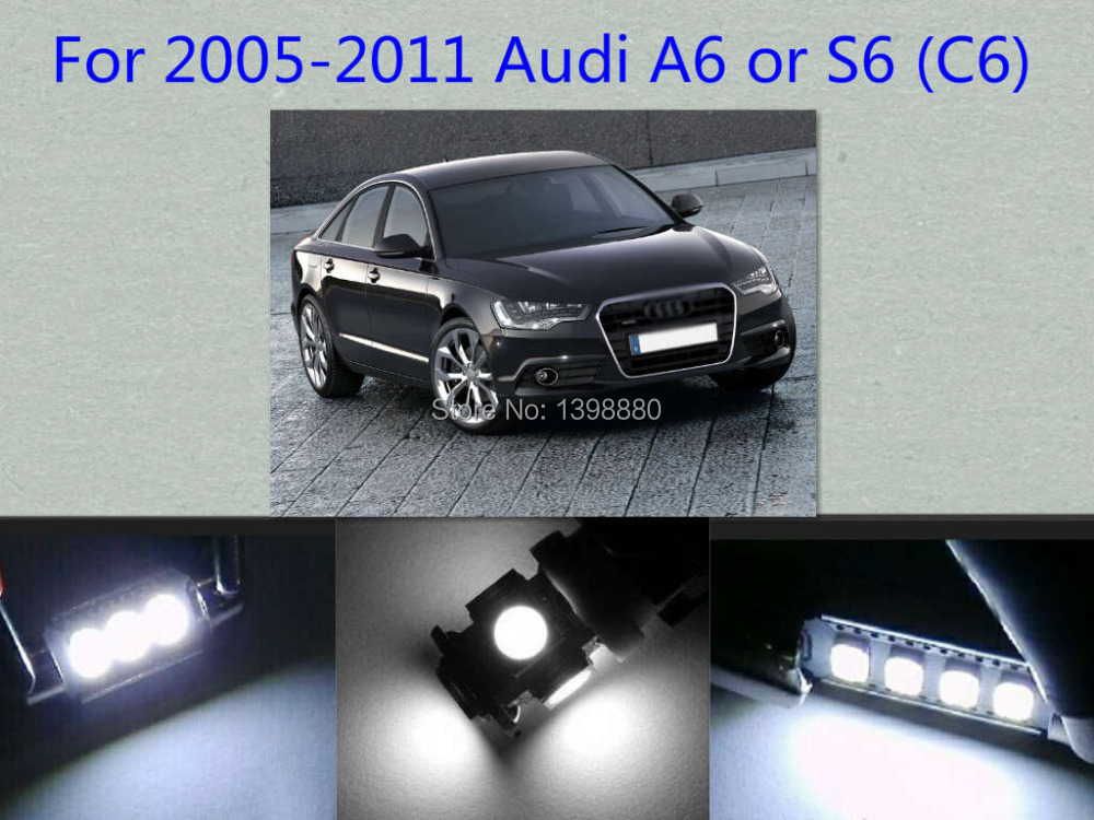 Error Free Canbus 14pcs White Led Interior Package Kit For Audi 2005 2011 A6 Or S6 C6 Map Dome