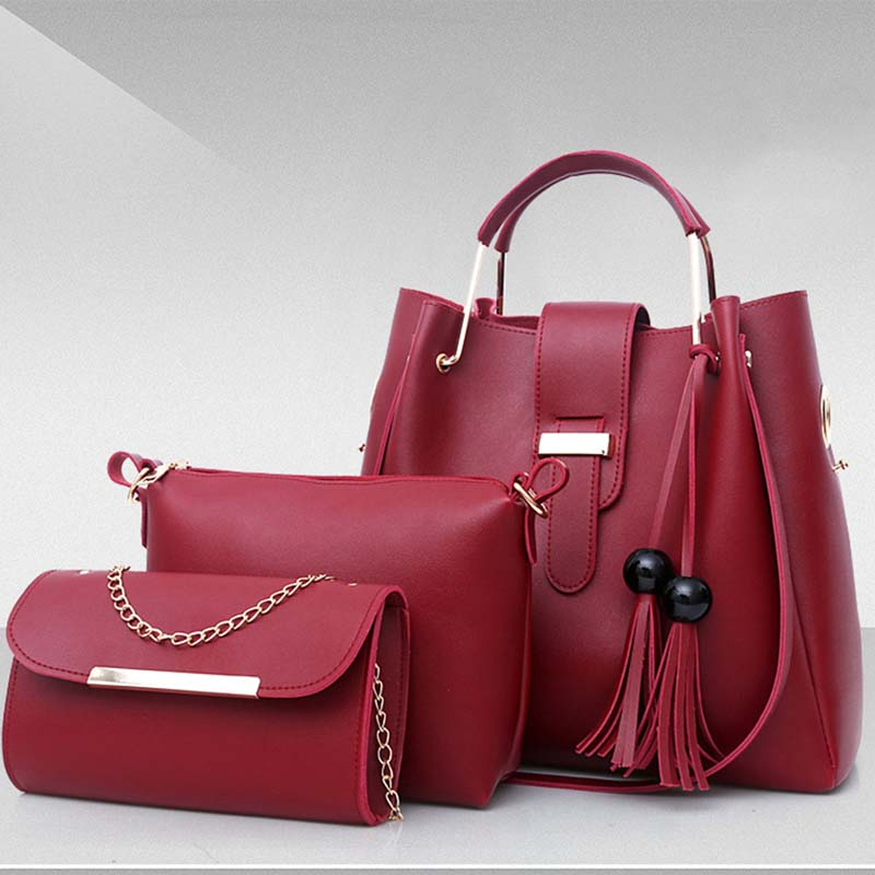 2018 New Fashion Women 3pcs/set Cosmetic Bag PU Leather Makeup Bags Casual Tassel Decors Shoulder Tote Bag