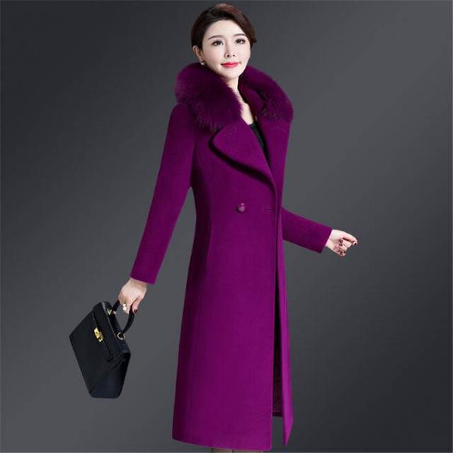 4251c8bc8 Long Women Woolen Jacket Coats Plus Size 4Xl 2019 Autumn Winter Fur Collar  Sashes Overcoat Woolen Jacket Casual Ds50203